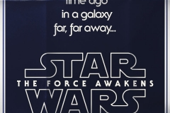 Star Wars: The Force Awakens Logo and Tagline 'a long time ago, in a galaxy far, far away' on a black background