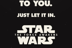 Star Wars: The Force Awakens Logo and Tagline 'the force is calling to you - just let it in' on a black background