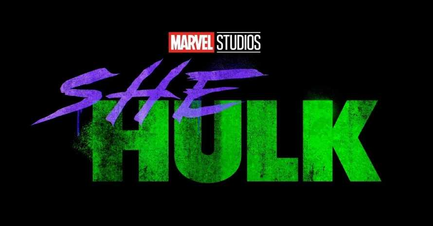 The Marvel She-Hulk logo (she in dark purple with Hulk in dark green)