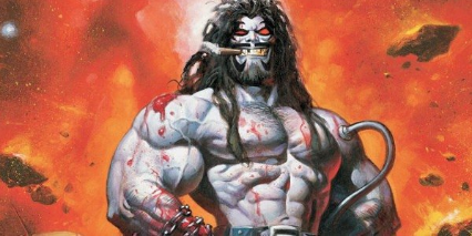 Lobo with a cigar standing proudly
