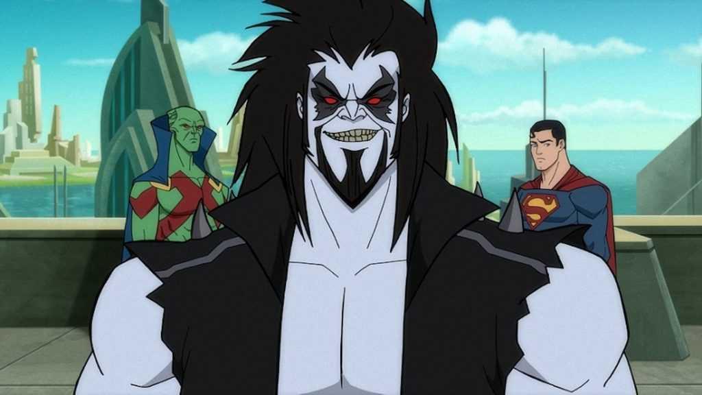 Ike Amadi as Martian Manhunter, Ryan Hurst as Lobo and Darren Criss as Superman in Superman: Man of Tomorrow