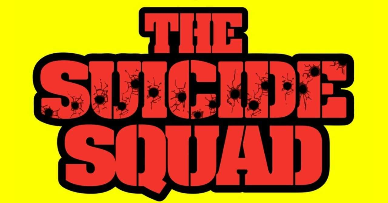 Red The Suicide Squad logo against a yellow background