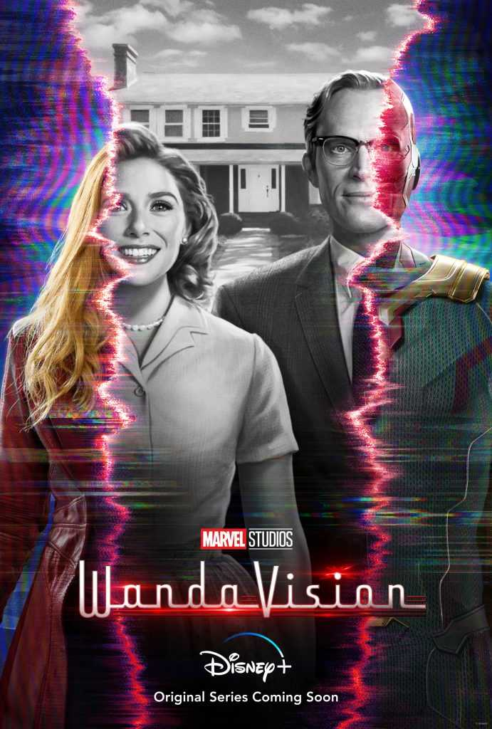 Paul Bettany is Vision and Elizabeth Olsen is Wanda Maximoff in Marvel Studios' Wandavision poster