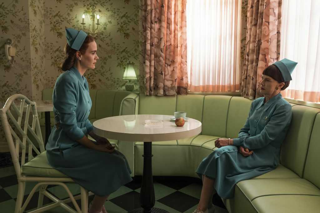 SARAH PAULSON as MILDRED RATCHED and JUDY DAVIS as NURSE BETSY BUCKET in episode 103 of RATCHED