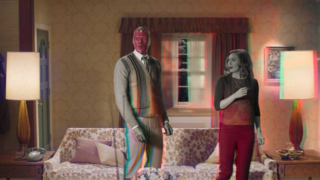 Paul Bettany is Vision and Elizabeth Olsen is Wanda Maximoff in Marvel Studios' Wandavision still