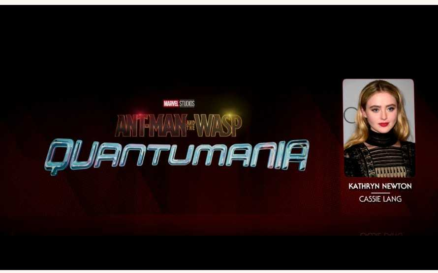 The Ant-Man and the Wasp Quantumania logo next to a picture of Kathryn Newton